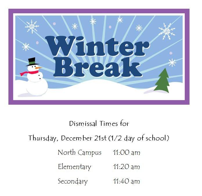 Winter Break dismissal times Thumbnail Image