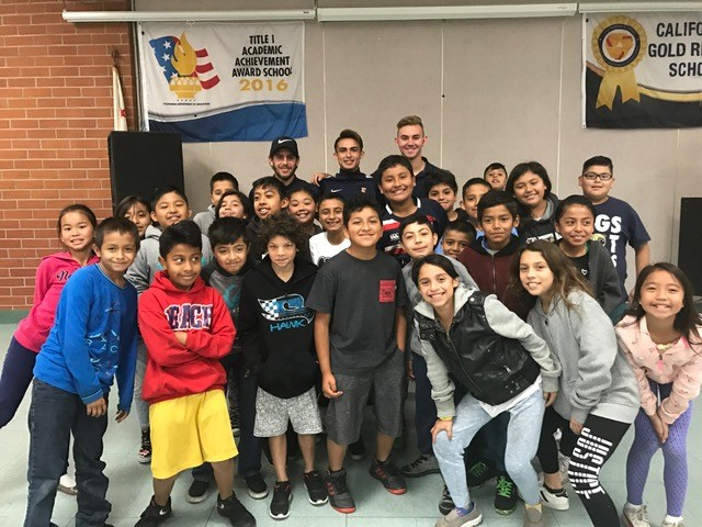 Cal State Fullerton Men's Soccer Players speak to our students