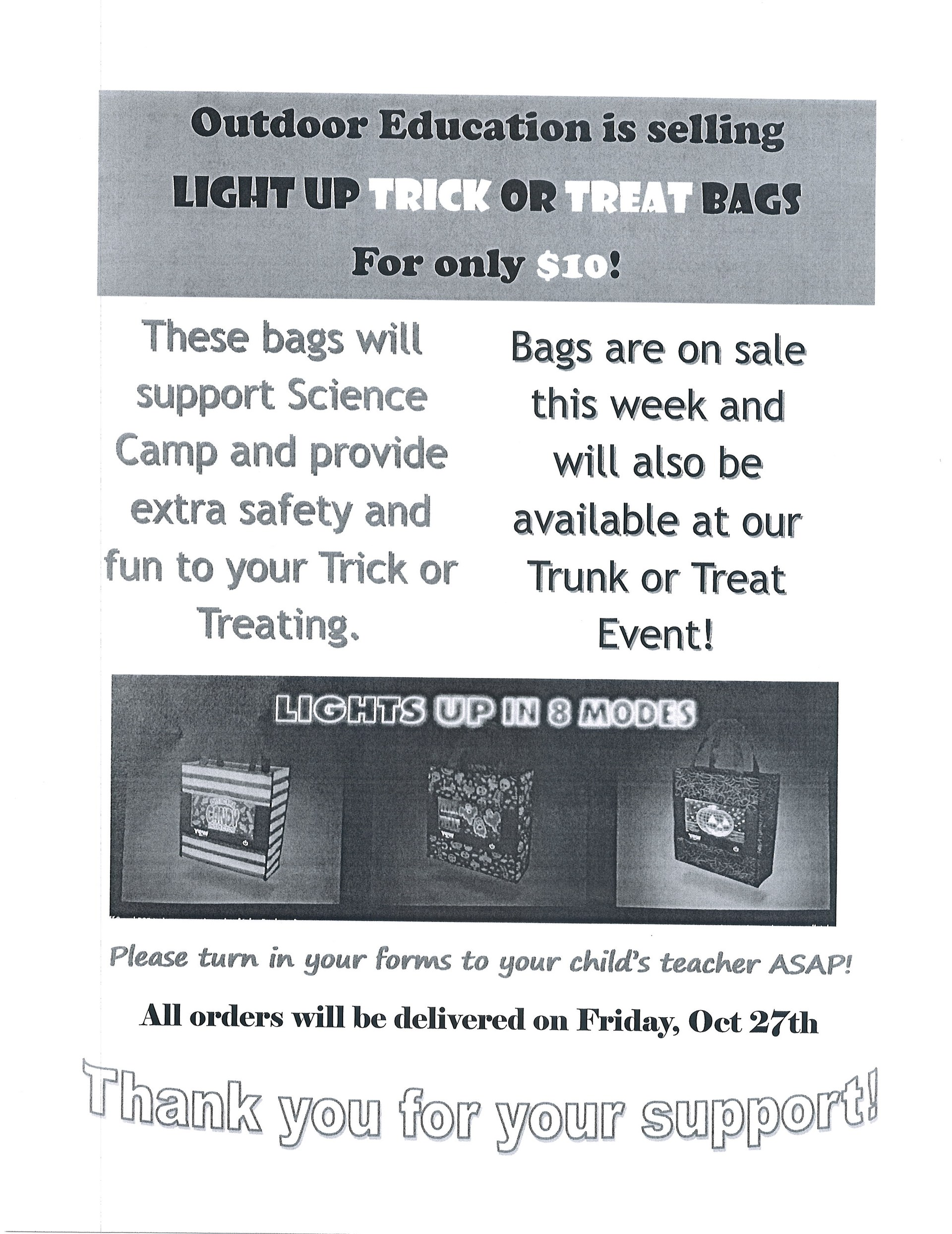 Halloween Treat Bag Fundraiser