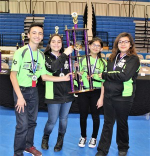 Pictured are the 1st Place Cobalt Robo-Rangers: Victoria Araujo (Captain), Cristian Sanchez, Jasmine Trevino, and Ally Ledezma.
