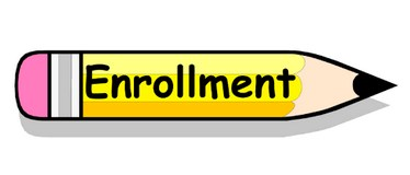 Pencil with word enrollment on it