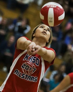 Last night was the County Senior All-Star Volleyball game.  Ridgeview was represented by Kohra Garcia.  Not only did she make the paper with this photo, but she also won defensive player of the game!  It was a great way for her to end her high school volleyball career.  If you see her, please give her a big high 5.  She earned it!!!