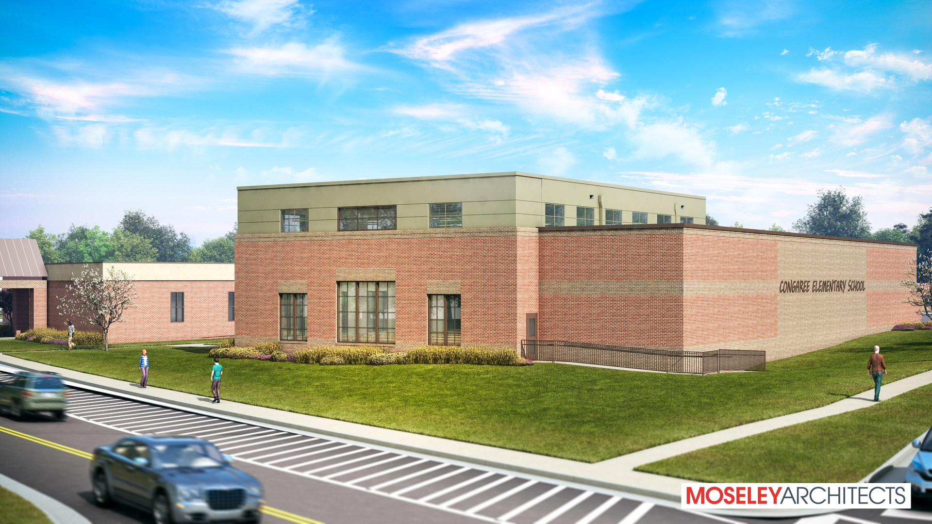 Architect's rendering of Congaree Elementary's new cafetorium addition