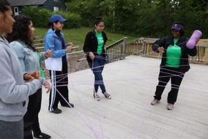 team building activity with string