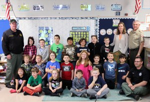 Jennifer Rick's second grade class at Stewartsboro with Sheriff Fitzhugh