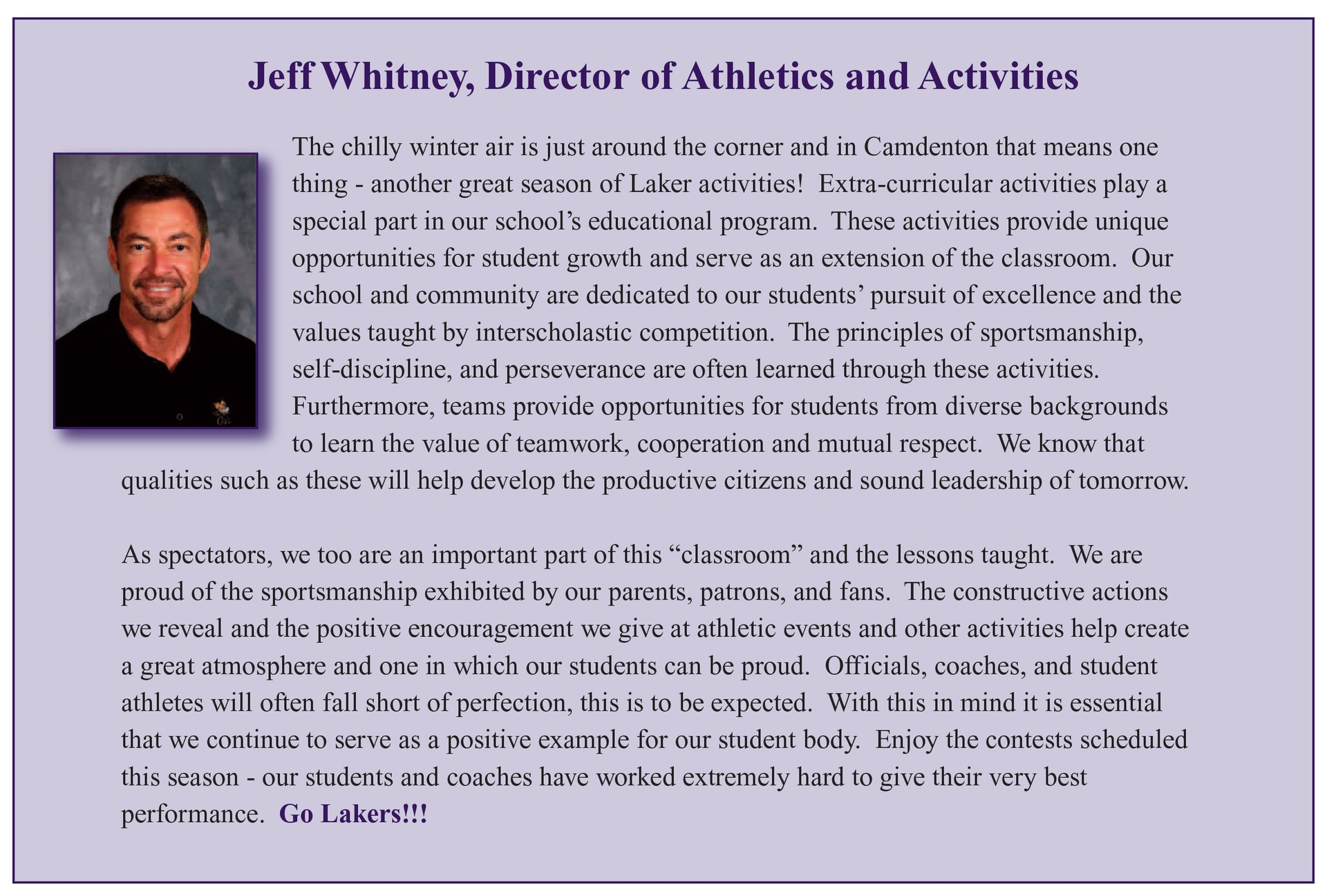 Jeff Whitney Athletic Director
