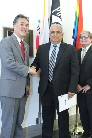 U.S. Rep. Mark Takano with MVUSD Board Member Jesús M. Holguín and Superintendent Dr. Martinrex Kedziora.