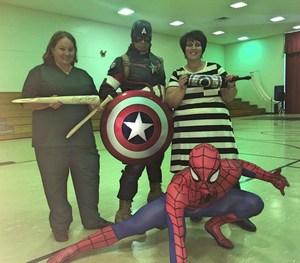 Superheroes- Mrs. Byars, Mrs. Lewis, Captain America, Spiderman