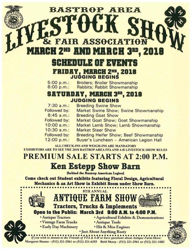 Poster advertising Bastrop Annual Livestock show