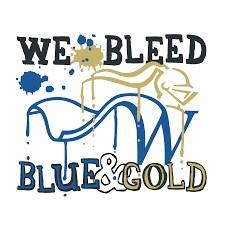 Logo says We Bleed Blue & Gold