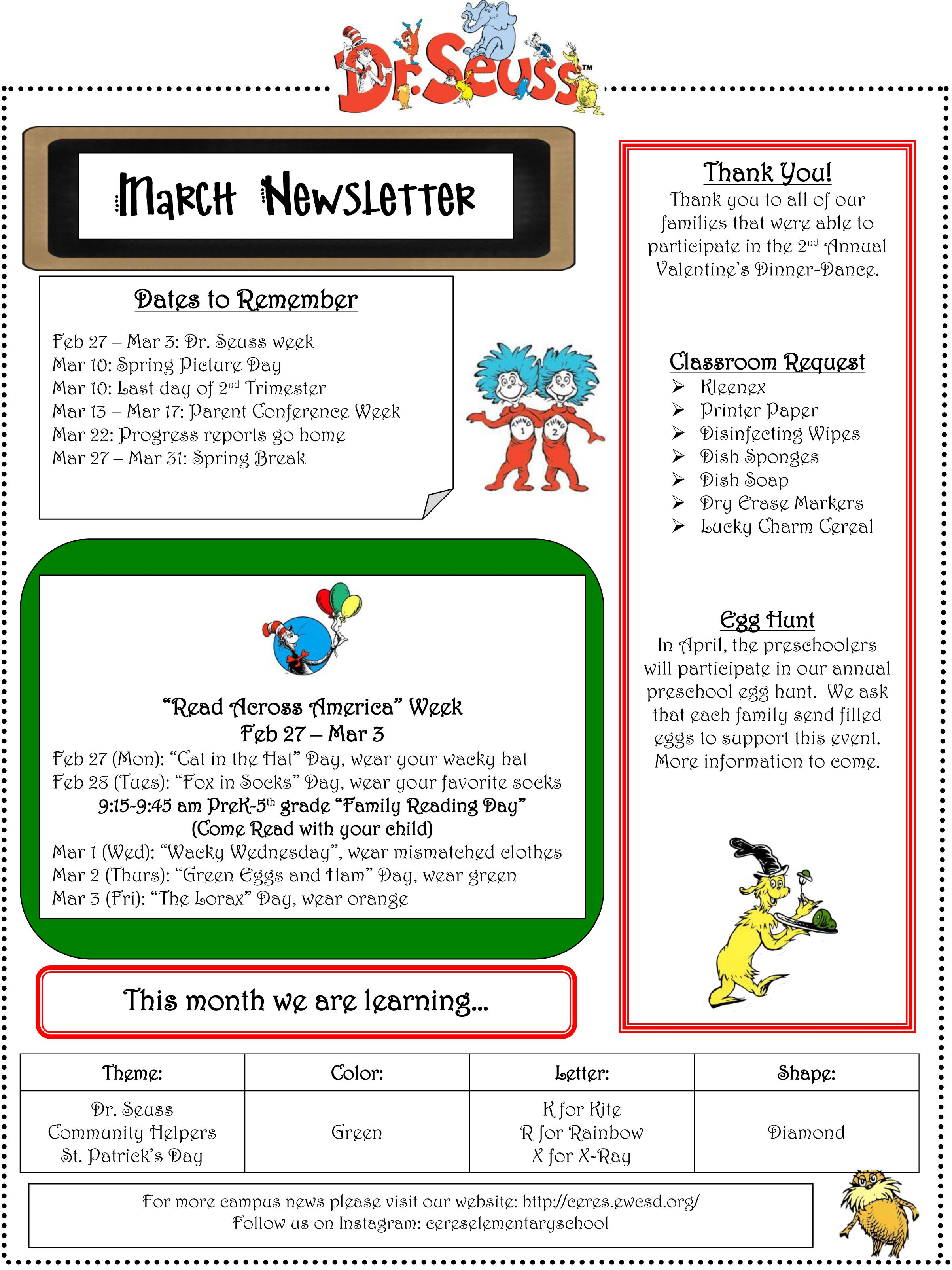 March newsletter for Ceres preschool.