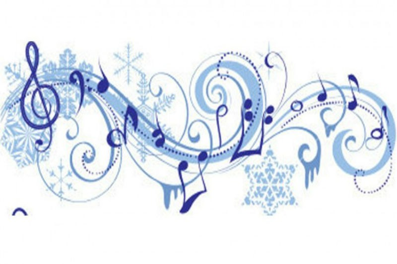 This is a line of music notes with winter stars in it.