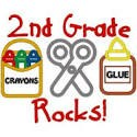 Crayon, scissors, and glue clip art with text that reads:  2nd Grade Rocks!