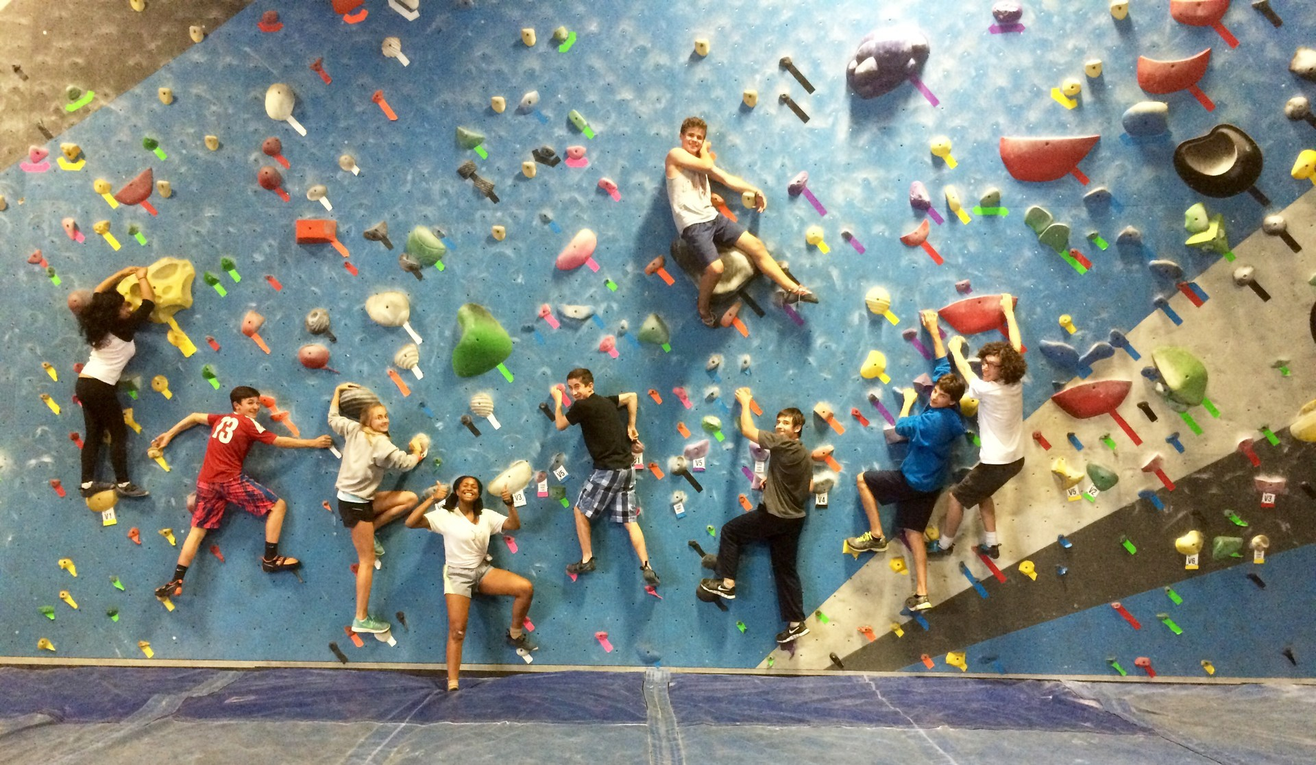 students climbing at planet granite