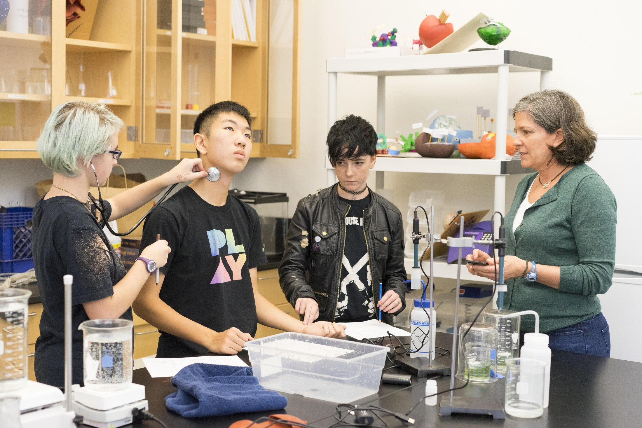 Students working together in Biology class