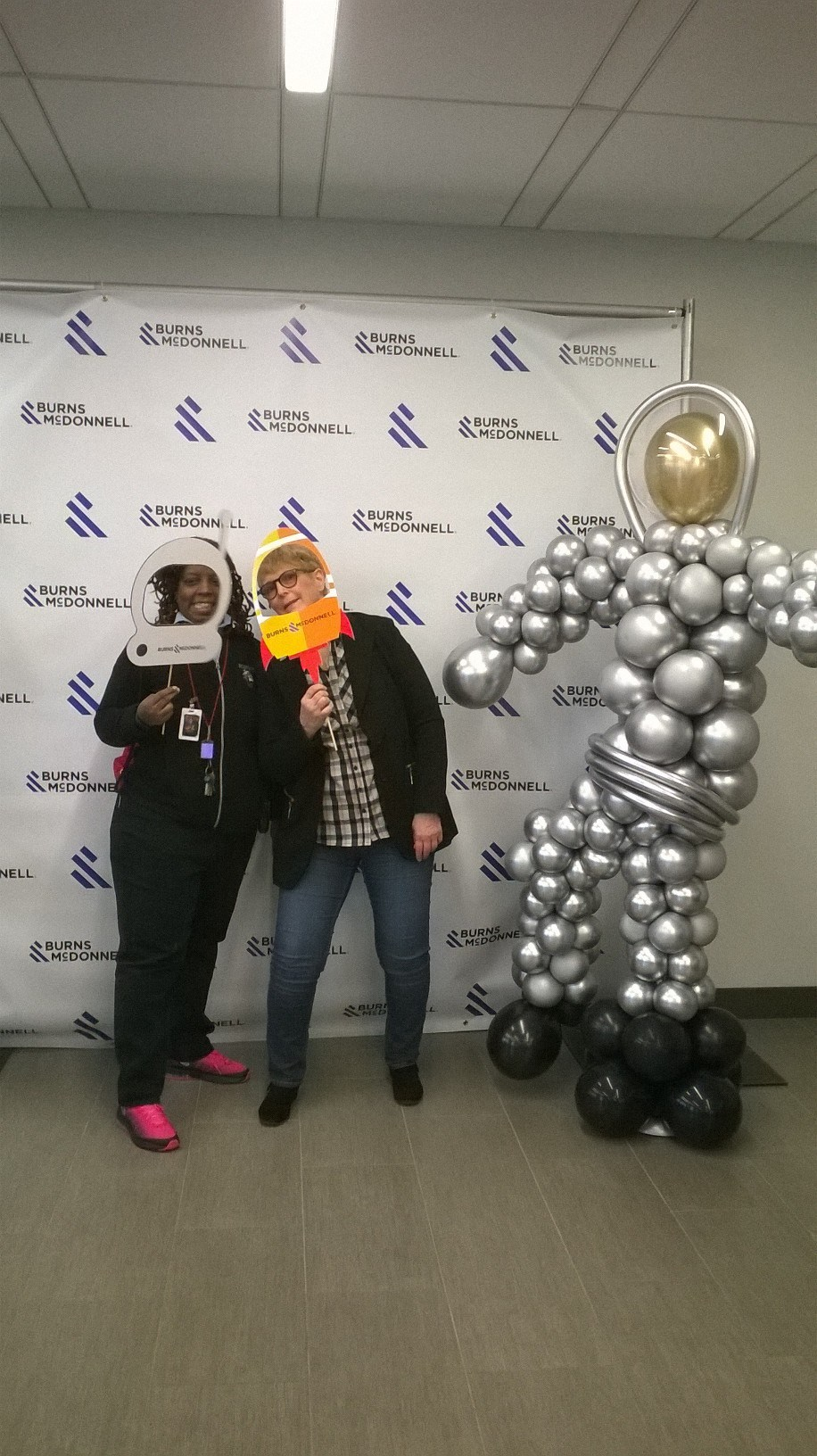 Students with bubble man