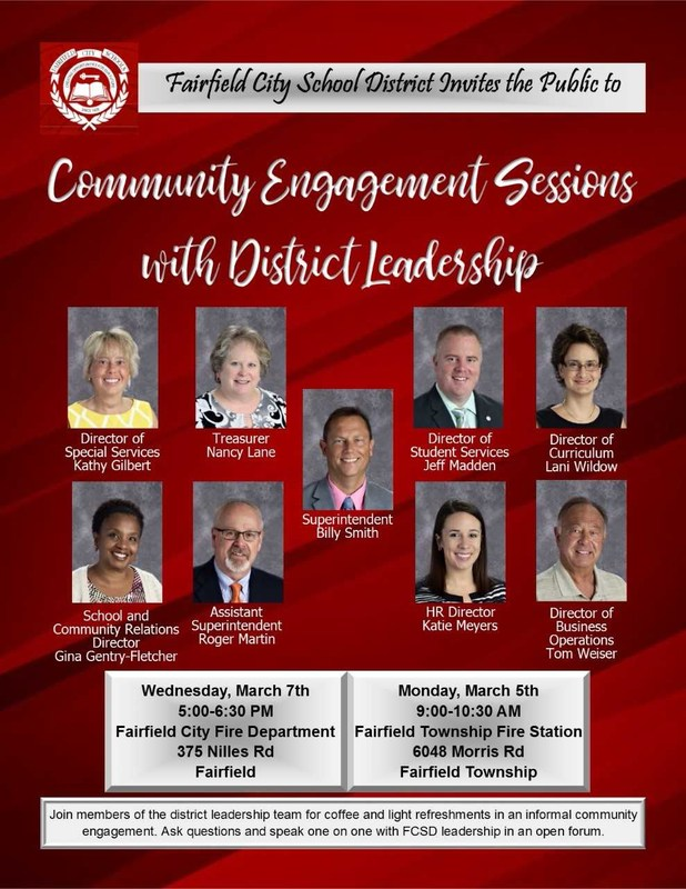 Image of a flyer inviting the community to a community coffee on March 5 and 7. The flyer has photos of each member of the district leadership team.