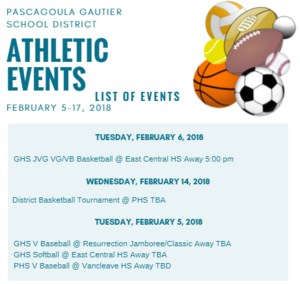 Athletic Events for Week of Feb. 5-17, 2018