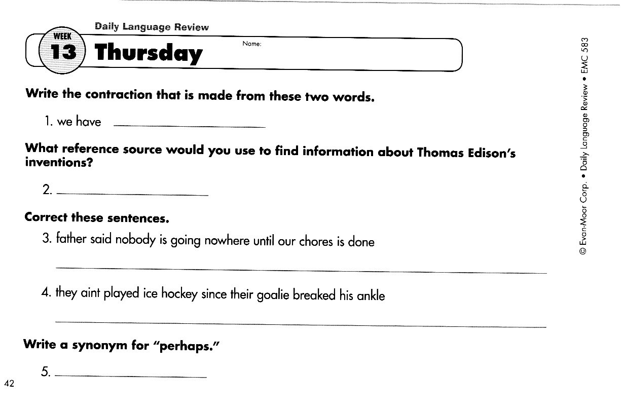 Worksheets Daily Language Review Worksheets stanley g oswalt academy due friday november 22