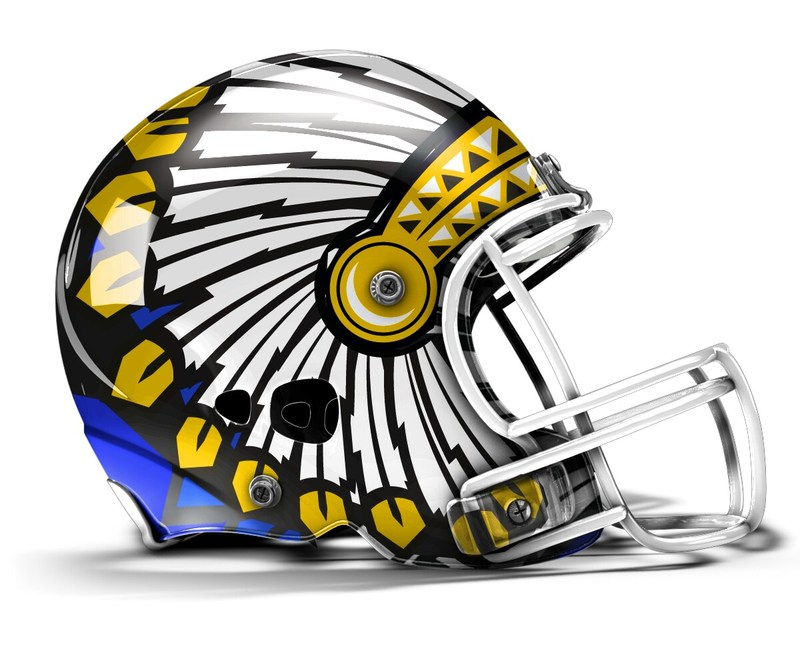 picture of a football helmet with feathers