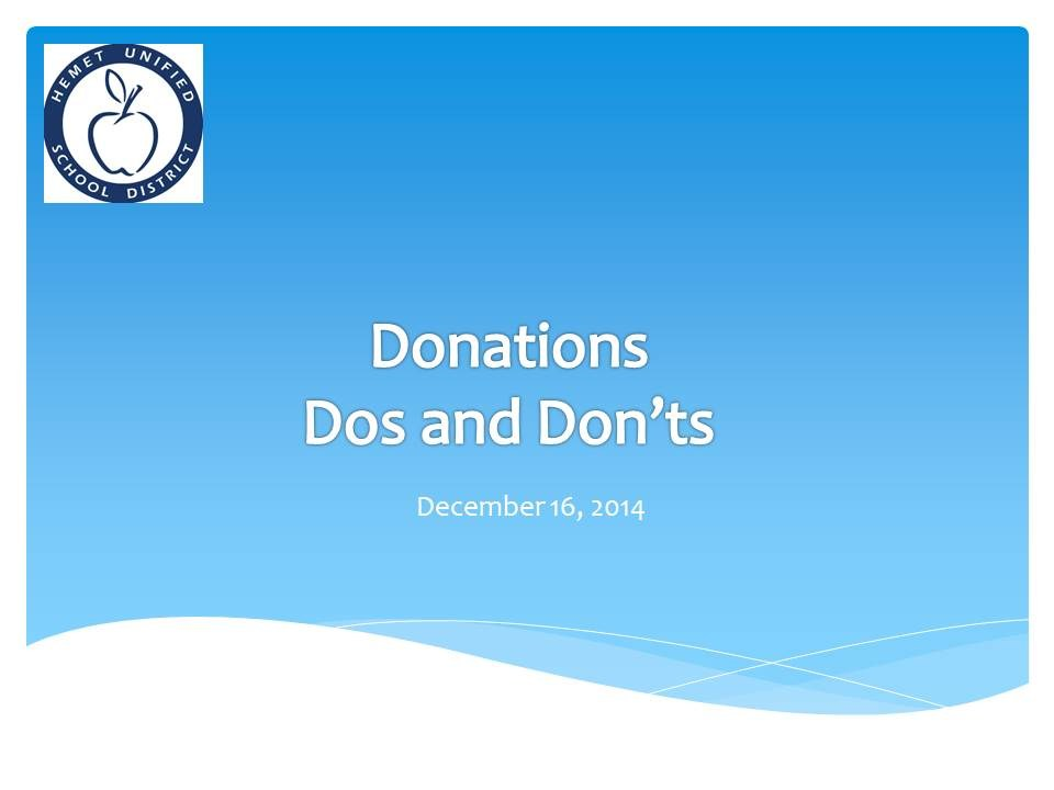 Presentation cover of the dos and don'ts of donating