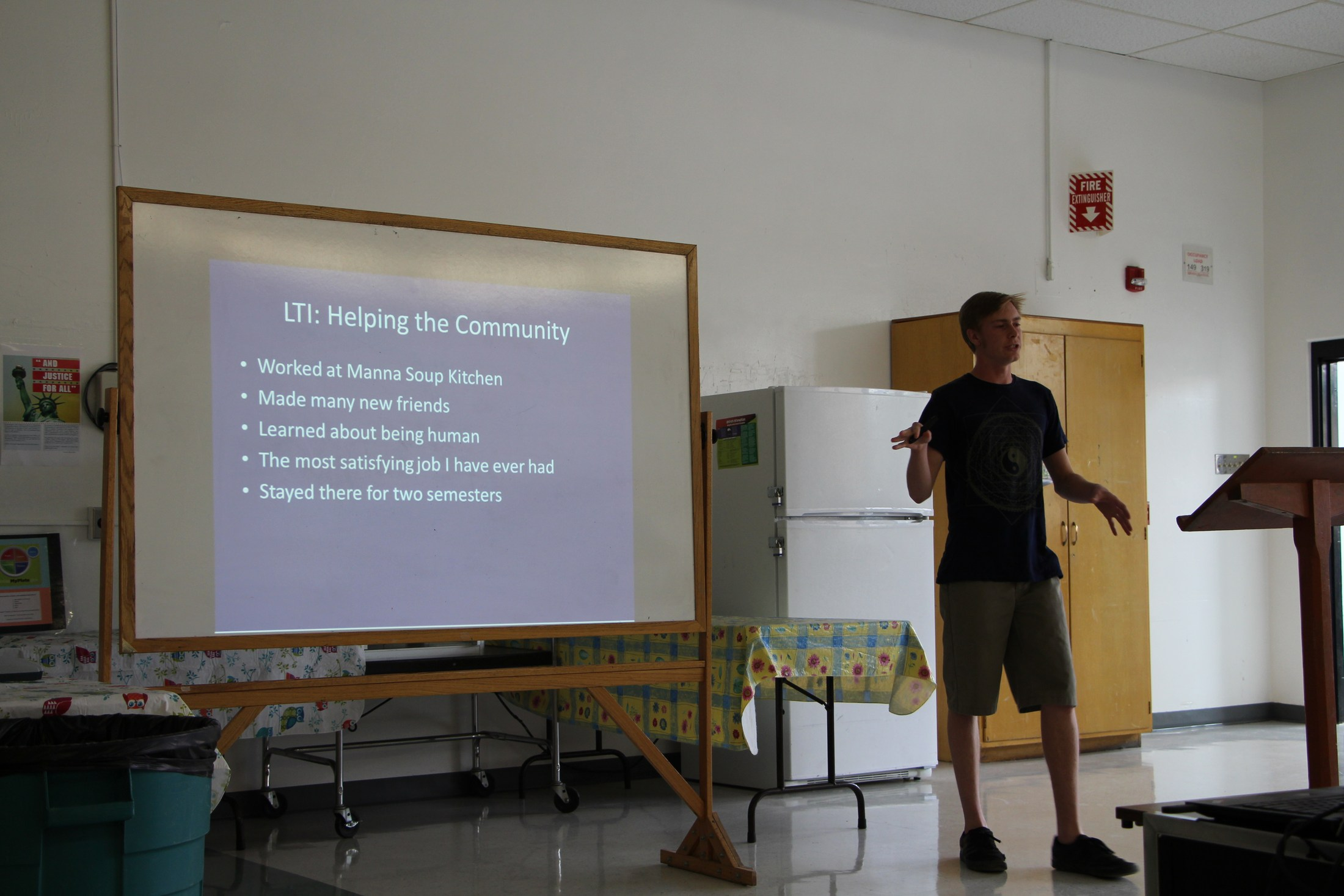 Student presenting his project for the community.