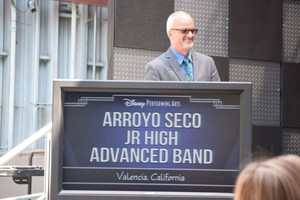 Rod Bennett at the podium with the Arroyo Seco Advanced Band at Disneyland