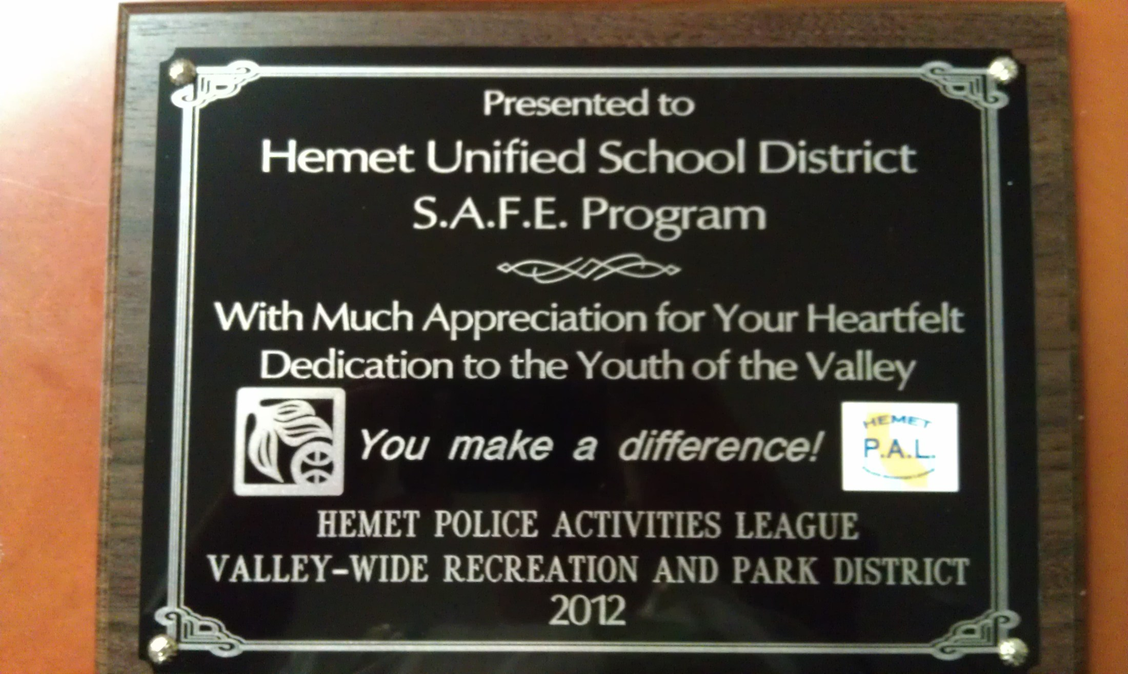 Partnership Plaque from Valley-Wide & Hemet PAL