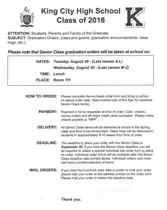 Graduation Orders (Information)