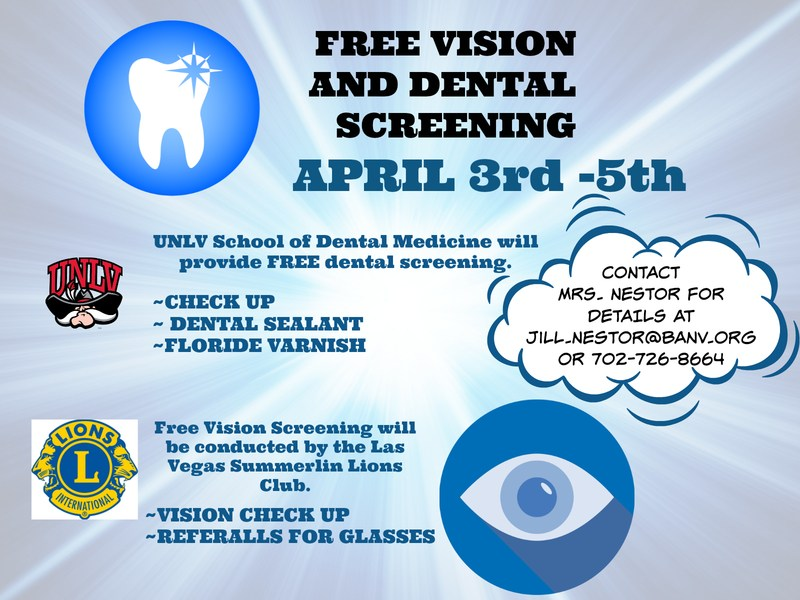 Beacon flyer for Free vision and dental screening
