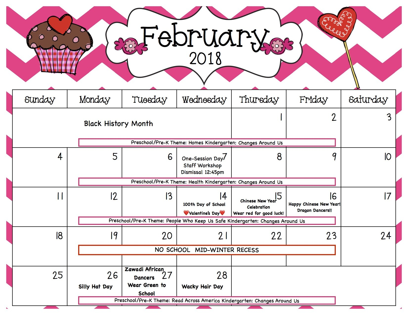 Revised February Calendar