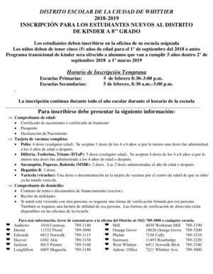 Informacion sobre la registracion en el WCSD
