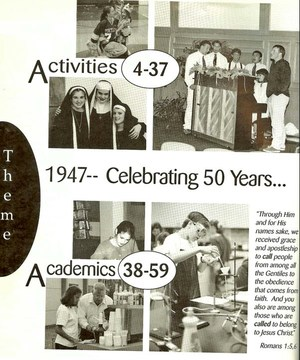 Scanned photo from 1997 Sceptre yearbook celebrating 50 years of PCS