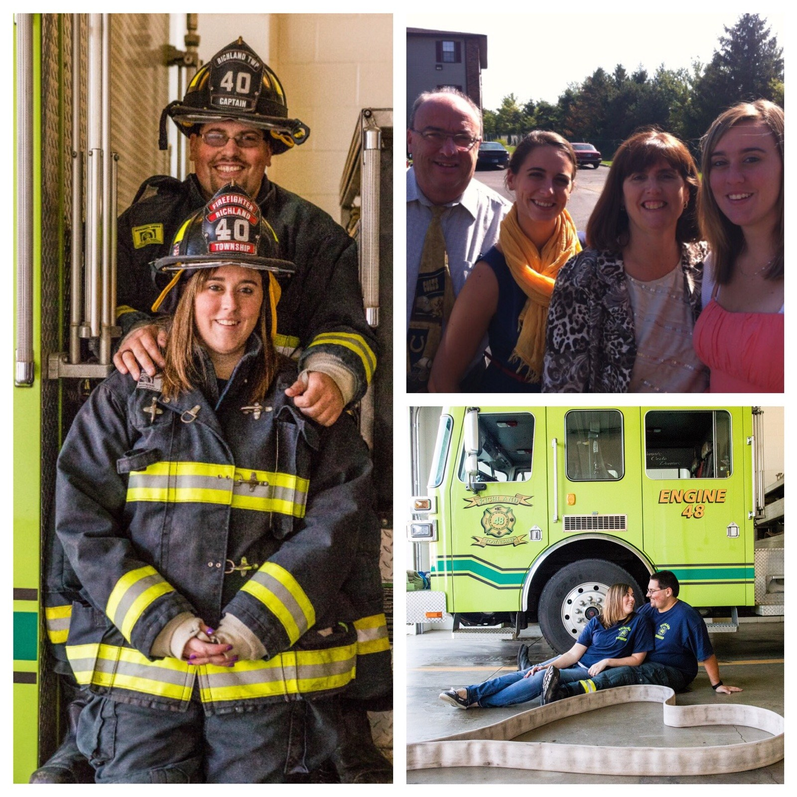 Me and tyler with firetruck, me and tyler, and me and my family