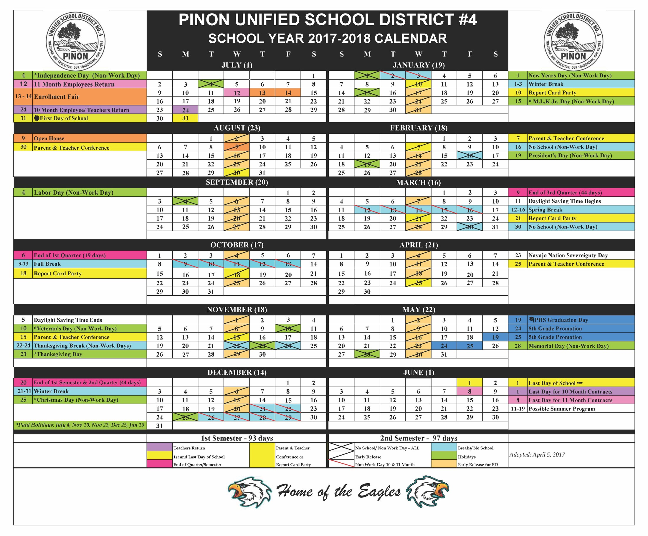 Sy 2017 2018 District Calendar Our District Pinon Unified School