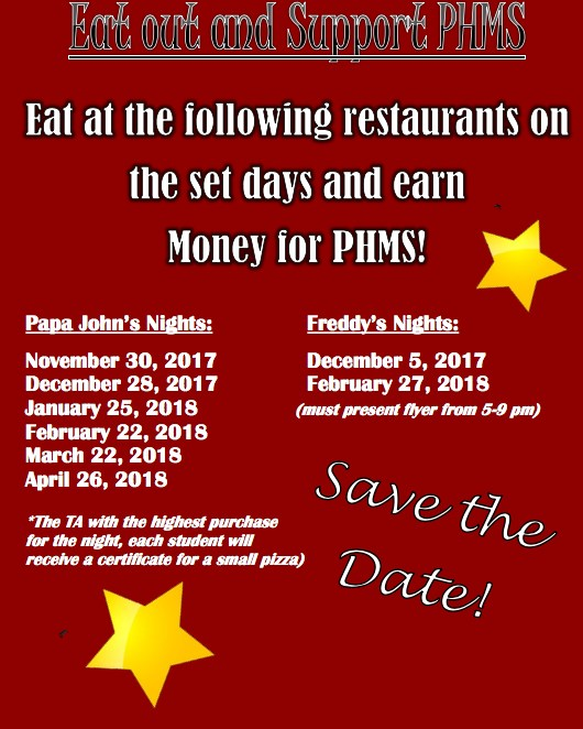 Support PHMS By Eating Out! Thumbnail Image