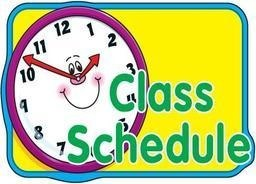 Picture of clock labeled Class Schedule