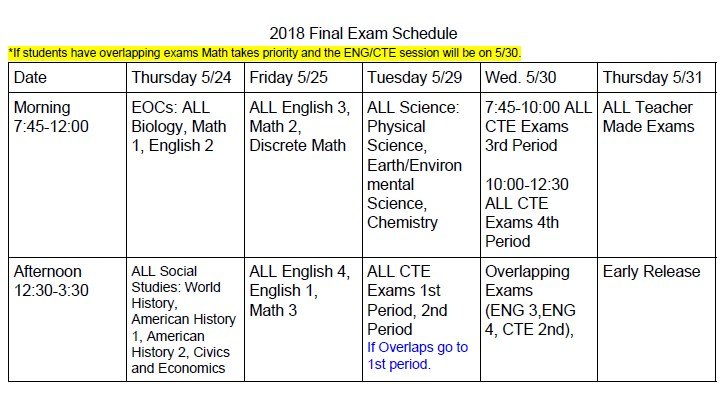 WCHS Spring 2018 Exam Schedule Thumbnail Image