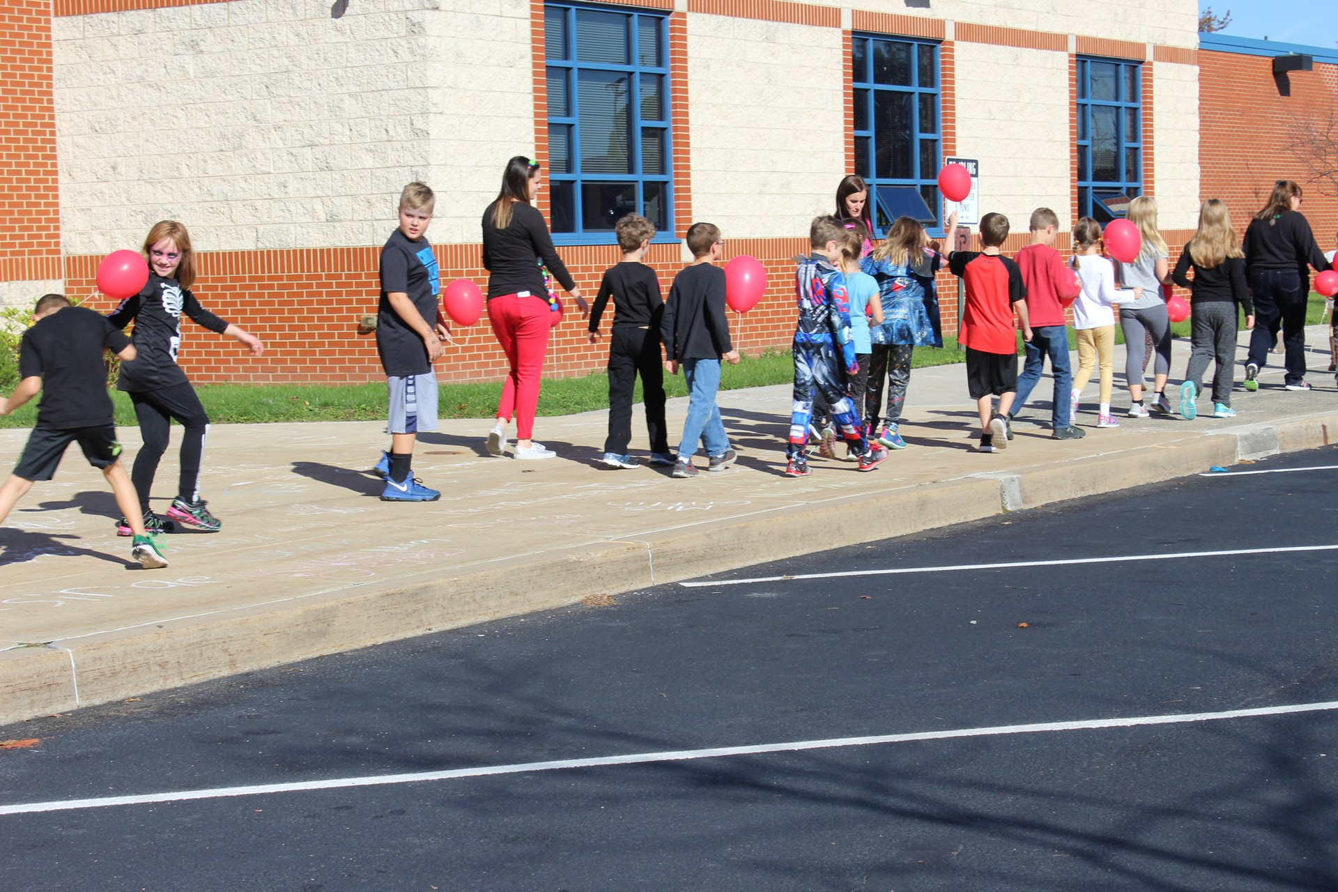 Elementary students at balloon launch Oct. 27, 2017