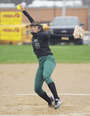 Coloma's Skylar Crisenbery throws against a Watervliet batter during the first game of Thursday's doubleheader.