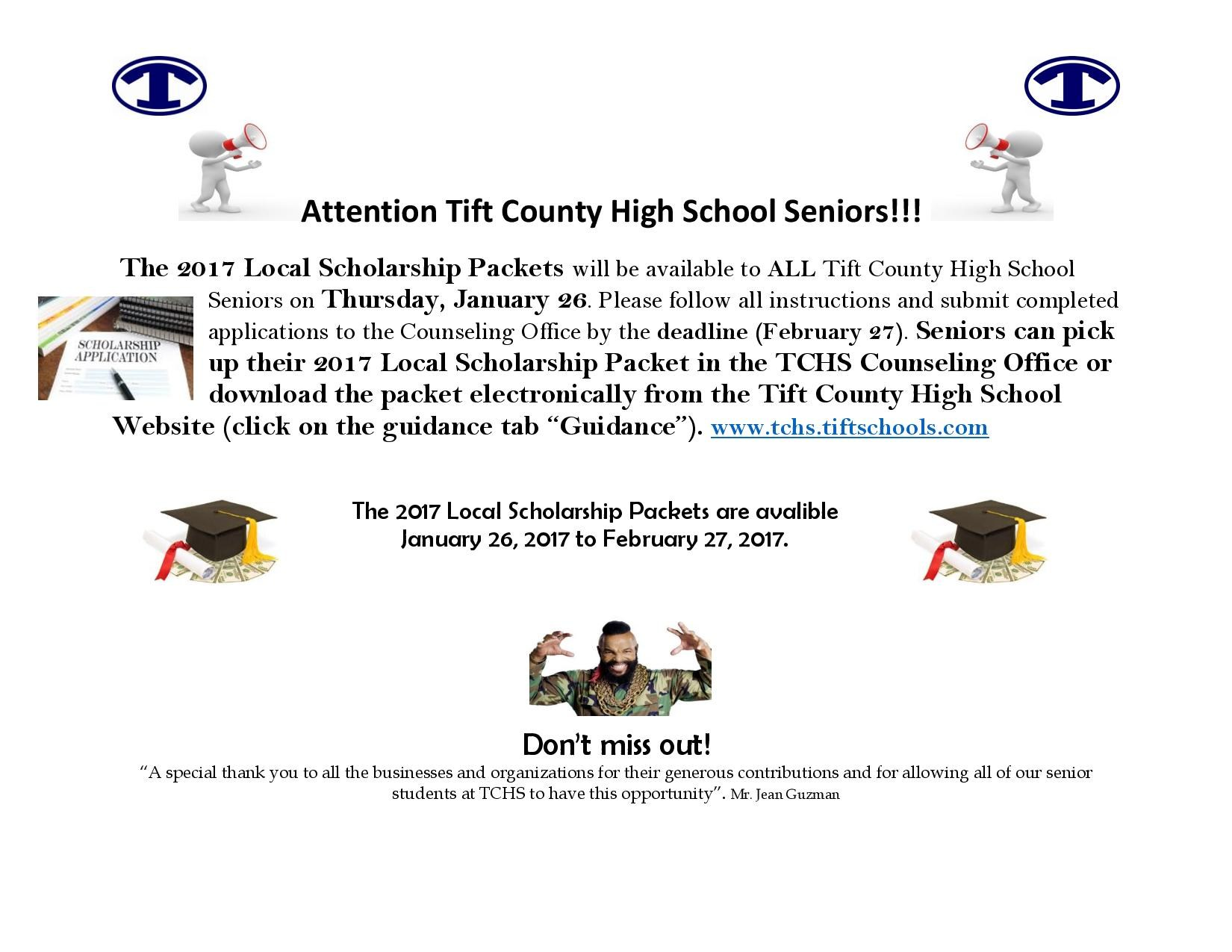 senior scholarship information counseling guidance office tift