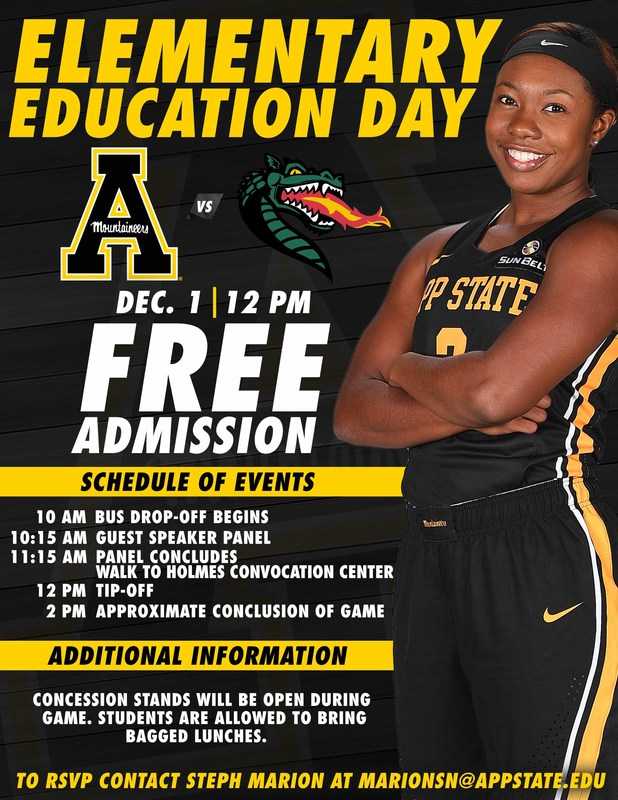 December 1st is Elementary Education Day at App State Women's Basketball Game Thumbnail Image
