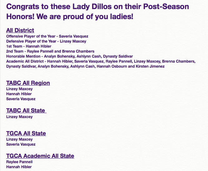 Lady Dillos Post-Season Honors
