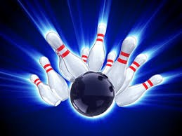 Bowling pins with blue background