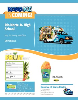 Kona Ice May 7th for four dollars.