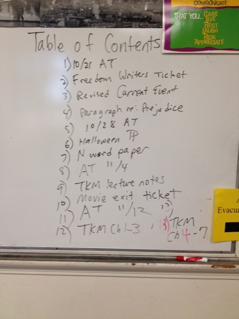 freedom writers writing assignment