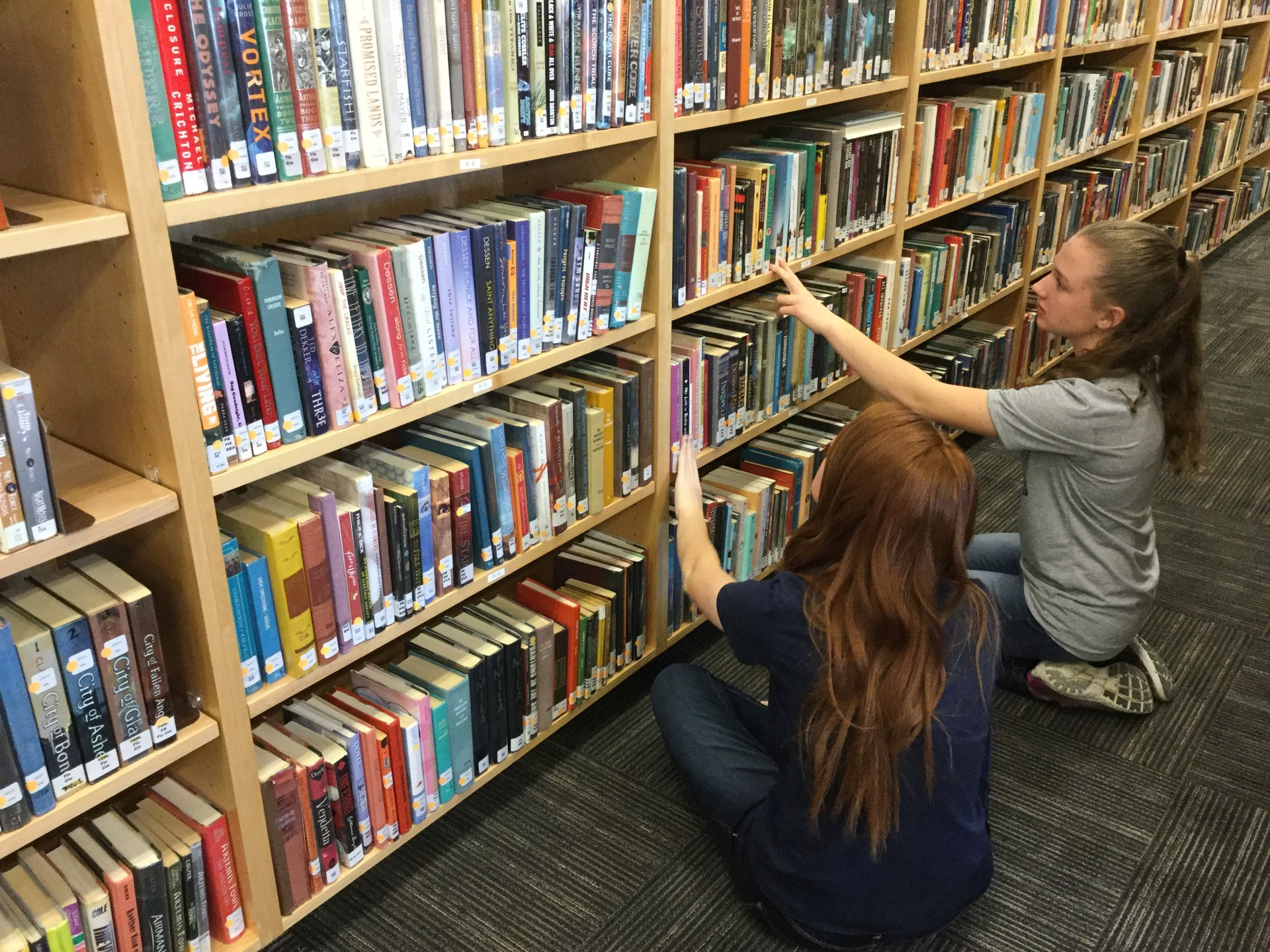 Students look for books