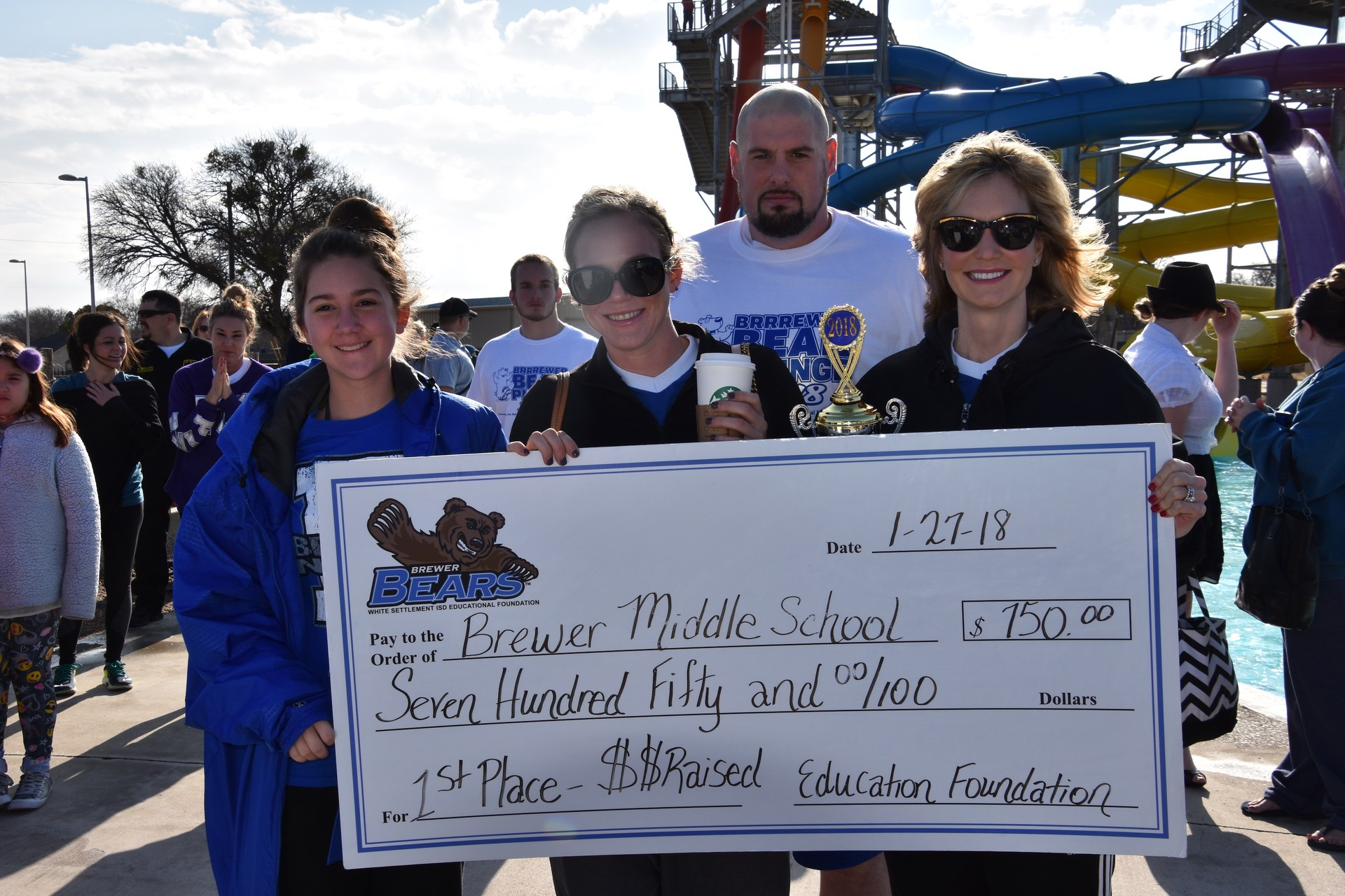 Brewer Middle School was the 1st place winner in the BRRRewer Bear Plunge fundraiser.