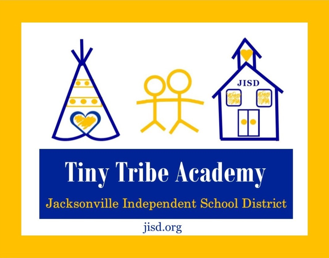 logo for the Daycare for Jacksonville ISD with a teepee and a schoolhouse