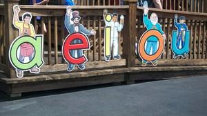 Vowel banner at Tweetsie Letterland.